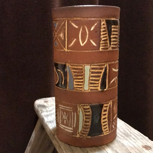Vintage Hand Painted Clay Pottery Vase